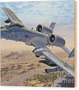 A-10 Over Baghdad Wood Print by Stu Shepherd