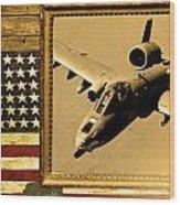 A-10 Warthog Rustic Flag Wood Print