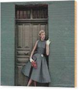 A 1950s Model Standing In A Doorway Wood Print