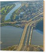 Fort Mcmurray From The Sky Wood Print