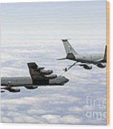 A B-52h Stratofortress Refuels Wood Print by Erik Roelofs