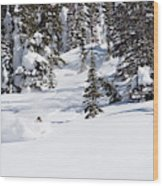 A Backcountry Skier A Turn Near Ymir Wood Print