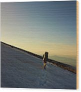 A Backpacker Crosses A Snowfield On Mt Wood Print