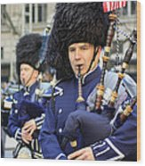 A Bagpiper Marching In The 2009 New York St. Patrick Day Parade Wood Print