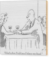 A Bald Man Speaks To A Woman At A Restaurant Wood Print by Mike Twohy