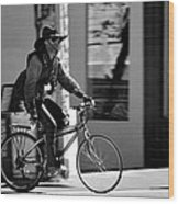 A Barefoot Cyclist With Beard And Hat In San Francisco Wood Print by RicardMN Photography