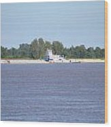 A Barge On The Mississippi River Wood Print