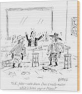 A Bartender In A Saloon Looks Alarmed As Two Wood Print