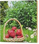 A Basket Of Strawberries Wood Print