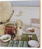 A Beach Picnic Wood Print