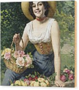 A Beauty Holding A Basket Of Roses Wood Print