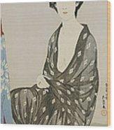 A Beauty In A Black Kimono Wood Print