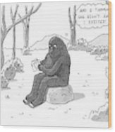 A Big Foot Type Creature Reads A Valentine Card Wood Print