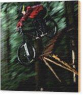 A Biker Rides His Mountain Bike Wood Print