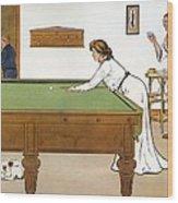 A Billiards Match Wood Print