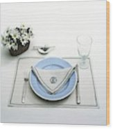 A Blue Table Setting Wood Print