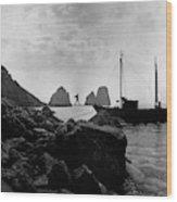 A Boat Docked At Capri Wood Print
