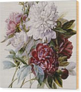 A Bouquet Of Red Pink And White Peonies Wood Print
