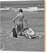 A Boy And His Dog Go Surfing Wood Print