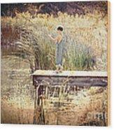 A Boy Fishing Wood Print