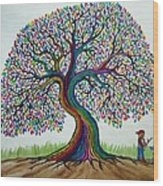 A Boy His Dog And Rainbow Tree Dreams Wood Print