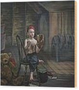 A Boy In The Attic With Old Relics Wood Print