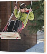 A Boy Plays Outside In Lake Tahoe Wood Print