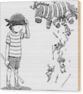 A Boy Watches As The Pinata He Just Hit Drops Wood Print