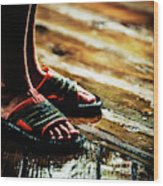 A Boys Wet Feet In Sandals Wood Print