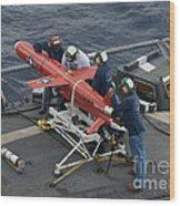 A Bqm-74e Drone Is Prepared For Launch Wood Print