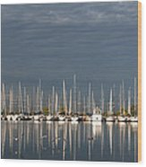 A Break In The Clouds - White Yachts Gray Sky Wood Print