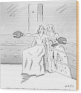 A Bride Sits On A Stool In The Corner Of A Boxing Wood Print