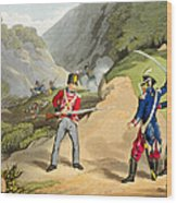 A British Soldier Taking Two French Wood Print by John Augustus Atkinson