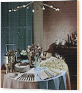A Buffet Table At A Party Wood Print