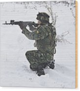 A Bulgarian Soldier Aims Down The Sight Wood Print