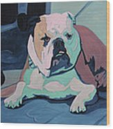 A Bulldog In Love Wood Print