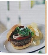 A Burger With Potato Chips Wood Print