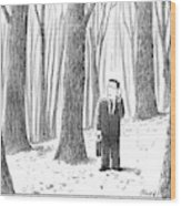 A Businessman Is Seen Standing In The Middle Wood Print