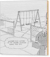 A Businessman Walks Away From A Playground Wood Print