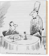 A Butcher Addresses A Man Sitting At A Dinner Wood Print