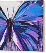 A Butterfly So Blue Wood Print