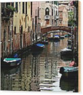 Calm Canal In Venice  Wood Print