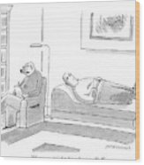 A Canine Psychologist Interviews His Human Wood Print