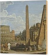 A Capriccio View Of Roman Ruins, 1737 Wood Print