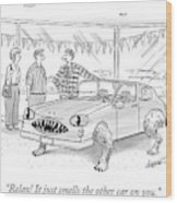 A Car Salesman Shows A Couple A Car Monster Wood Print