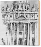 A Carpenter At The Dome Of The Vatican Yells Wood Print