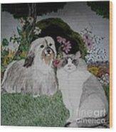 A Cat And A Dog Wood Print