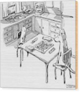 A Cat And Dog Play Scrabble In A Kitchen. 'grrr' Wood Print