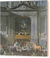A Cavalcade In The Winter Riding School Of The Vienna Hof To Celebrate The Defeat Of The French Wood Print