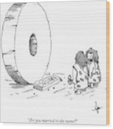 A Caveman Looking Onto The Circular Wheel Another Wood Print